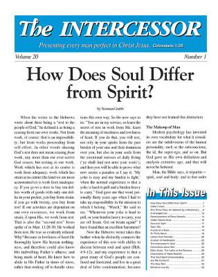 The Intercessor, Vol 20 No 1